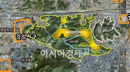 롯데그룹이 추진 중인 계양산 골프장 예정부지.