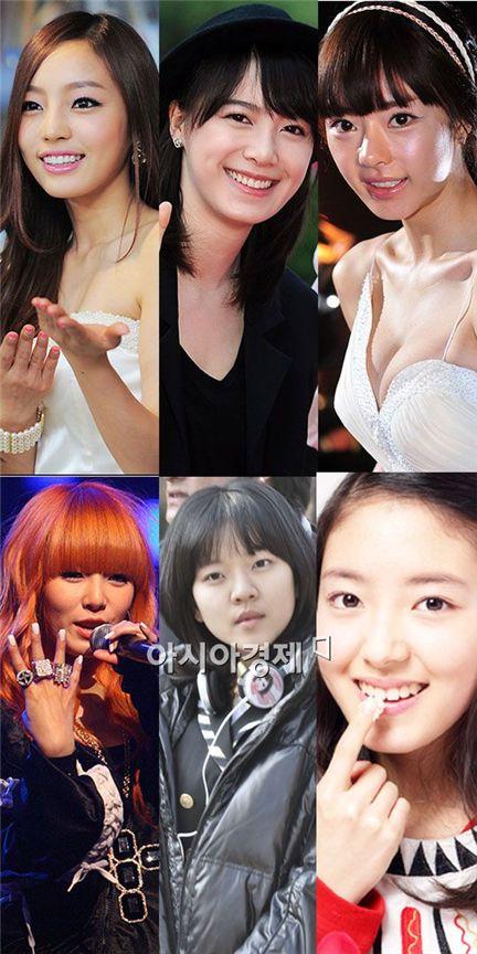 From top left to right: Kara member Gu Hara, actresses Ku Hye-sun and Seo Woo, 4minute member HyunA and actress Ko Ah-seong and Lee Se-yeong