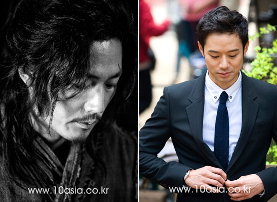 "Jang Hyuk (left) who will star in SBS series ""Midas"" (left) & Chun Jung-myung in MBC series ""Jiakpae"""