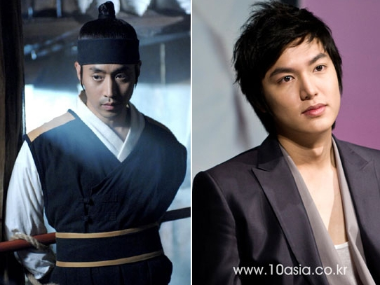 "Eric (left) who will star in SBS series ""Poseidon"" and Lee Min-ho in MBC series ""City Hunter"""