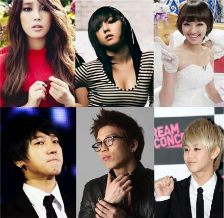 Clockwise from top left, IU, Min, Hyo-rin, Yoseop, Changmin, Yesung