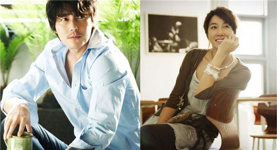 Jung Woo-sung (left) and E Ji-ah [Taurus Films / KEYEAST]