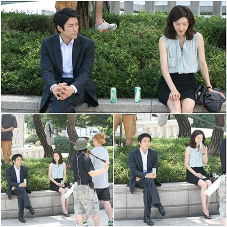 "Ji Jin-hee and Cha Soo-yeon on the set of ""On the Way (tentative title)."" [fantagio]"
