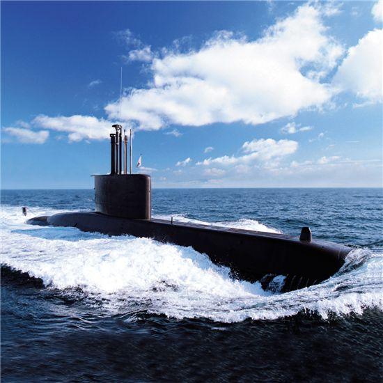 대우조선해양이 건조한 209급 잠수함 시운전 장면