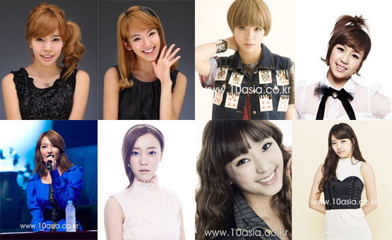 "New cast of ""Invicible Youth"" (from top left to right) Girls' Generation Sunny, Hyoyeon, f(x)'s Amber, Jewelry's Ye-won, KARA's Ji-young, Rainbow's Woori, SISTAR's Bora and miss A's Suzy [SM Entertainment, 10Asia, Star Empire Entertainment]"