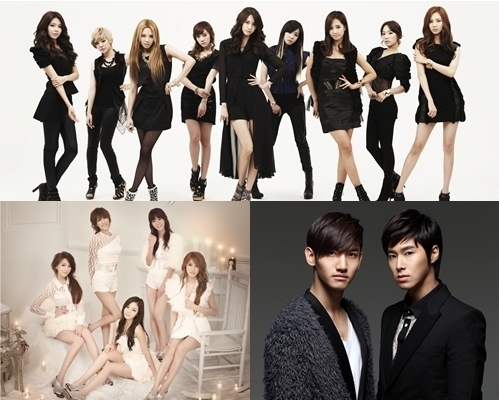 Girls' Generation (top), KARA (bottom left) and TVXQ (bottom right) [SM Entertainment/DSP Media]