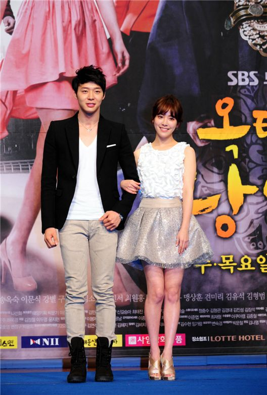 """Park Yuchun and Han Ji-min pose during the press conference for upcoming TV series """"Rooftop Prince"""" held in Seoul, South Korea on March 5, 2012. [SBS]"""