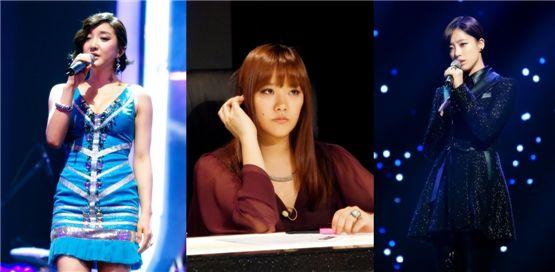 Bada (left), Horan (center) and T-ara's Eunjung (right) [tvN]