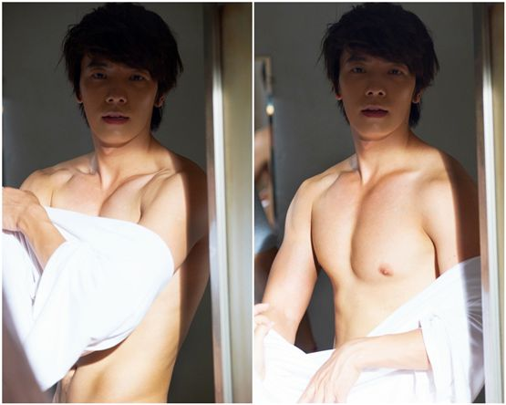 "Super Junior's Donghae showing his ripped body on the set of Channel A's upcoming weekend series ""Miss Panda, Mr. Hedgehog"" set to air on August 18, 2012. [YTree Media]"