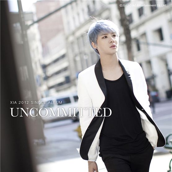"Cover to XIA's 2012 single album ""UNCOMMITTED,"" which was released on August 17, 2012. [C-JeS Entertainment]"