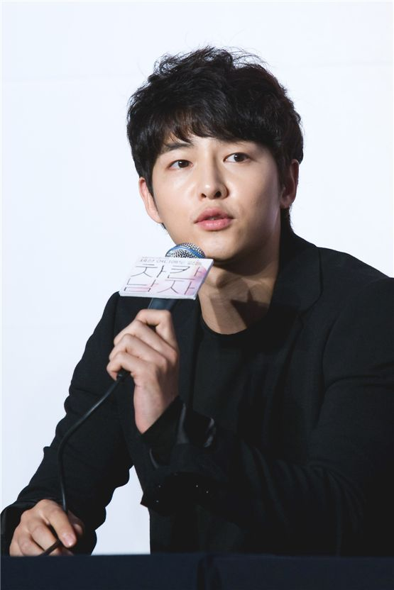 "Actor Song Joong-ki speaks to reporters at a press conference for KBS ""The Innocent Man"" held in Seoul, South Korea on September 5. [Lee Jin-hyuk/10Asia]"