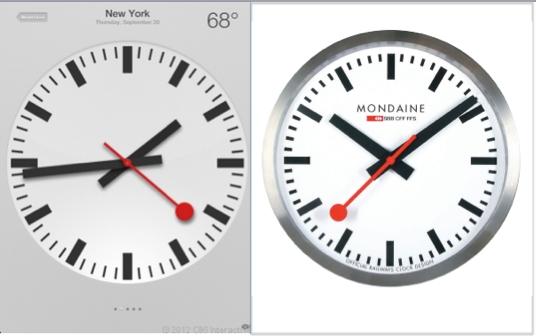 애플 iOS6의 시계 디자인(왼쪽)과 스위스 시계 제조사 몬데인의 시계 디자인(오른쪽)