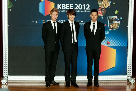 JYJ members Kim Junsu (left), Kim Jae-joong (center) and Park Yuchun (right) pose before the appointment ceremony of the upcoming Korea Brand & Entertainment Expo [KBEE2012], held at Korea Trade-Investment Promotion Agency's head office in southern Seoul, Korea on October 17, 2012. [Lee Jin-hyuk/ 10Asia]