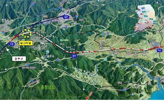 갈산터널 부근 호남고속철도 오송~익산구간 위치도
