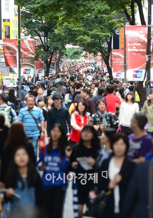 중국 사드 보복 이전 명동 거리 모습