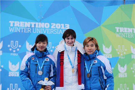 제26회 트렌티노동계유니버시아드대회 스피드스케이팅 여자 5,000m에서 은메달을 획득한 김보름(왼쪽)과 동메달을 수상한 박도영(오른쪽)이 기념촬영을 하고 있다.[사진=대한체육회 제공]