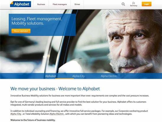독일 자동차 회사 BMW의 자회사 '알파벳닷컴(Alphabet.com)' 홈페이지 스크린샷.