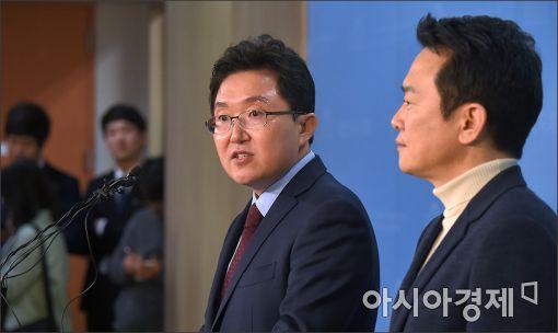 ▲(왼쪽부터) 김용태 자유한국당 의원, 남경필 경기지사