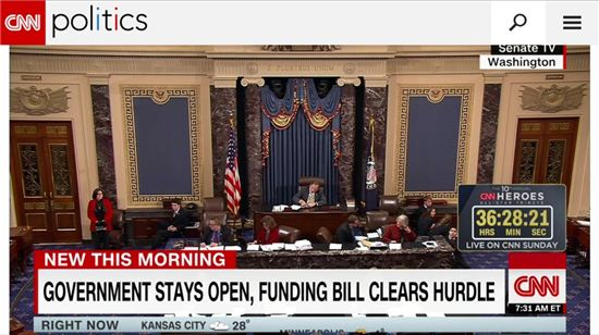 미국 상원은 지난 12월 9일 50만불 미국투자이민법안을 포함한 예산결의안(Continuing Resolution)을 통과시켰다. (사진=CNN캡쳐)