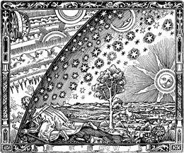 플라마리옹의 책에 등장하는 목판화. 인간이 대기를 뚫고 그 밖을 보는 모습을 묘사했다.