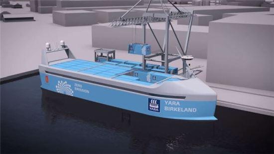 ▲야라 인터내셔널이 내년부터 운항할 무인선박 '야라 버클랜드'. 전기로만 움직이며 탄소 배출이 전혀 없는 친환경 선박이다.