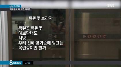 지하철 스크린도어에 있는 시, 복효근의 '목련꽃 브라자'. 남녀노소 대중들이 많이 이용하는 공공장소에 걸린 시로 적합하냐는 논란이 일었다. 성희롱이 아니냐는 주장까지도.(방송캡처)