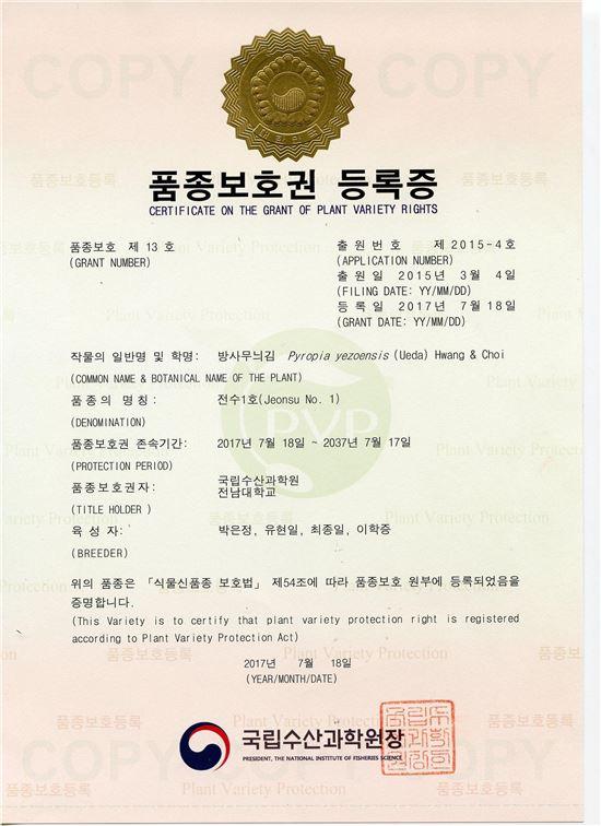 전남대 연구팀 개발 김 종자 품종보호권 등록