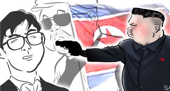 김정은 노동당 위원장의 조카 김한솔 암살을 위해 베이징에 파견된 북한 공작조가 중국 공안당국에 체포돼 국제사회에 충격을 주고 있다. 이복형인 김정남 암살에 이어 조카인 김한솔 암살까지 계획한 김정은의 속내는 과연 무엇일까? 일러스트 = 오성수 작가