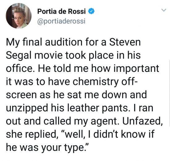 9일(현지시각) 영화 배우 포티아 그로시가 자신의 트위터를 통해 과거 스티브 시걸에게 성폭행을 당했다고 밝혔다. /사진=포티아 그로시 트위터 캡쳐
