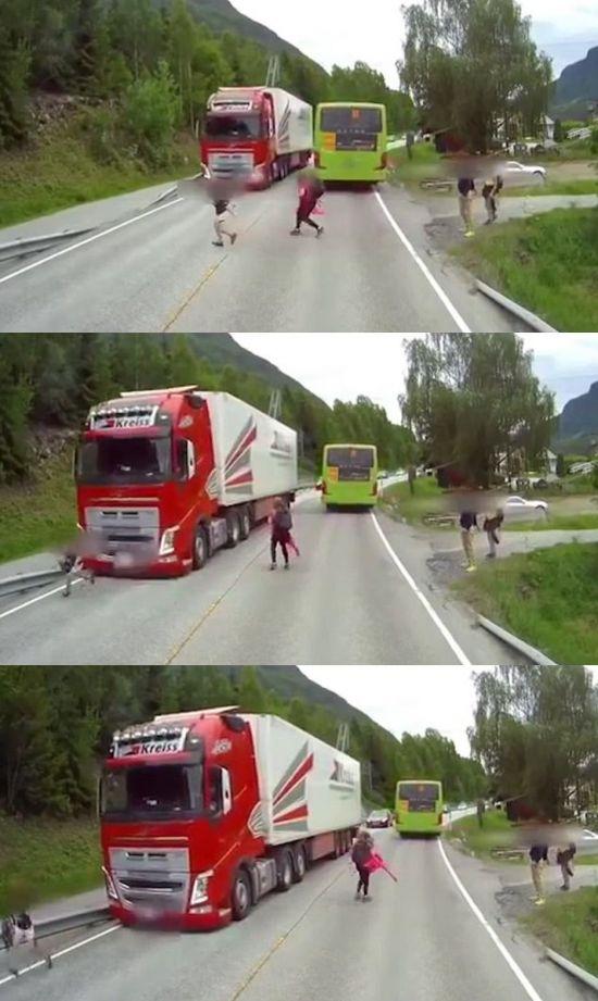 버스 뒤에서 무단횡단하면 안 되는 이유(영상)