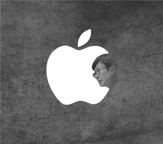 대기업 갑질 척결에 나선 김상조 공정거래위원장이 애플의 갑질도 도려낼 수 있을지 관심이 집중되고 있다.(일러스트=이영우)