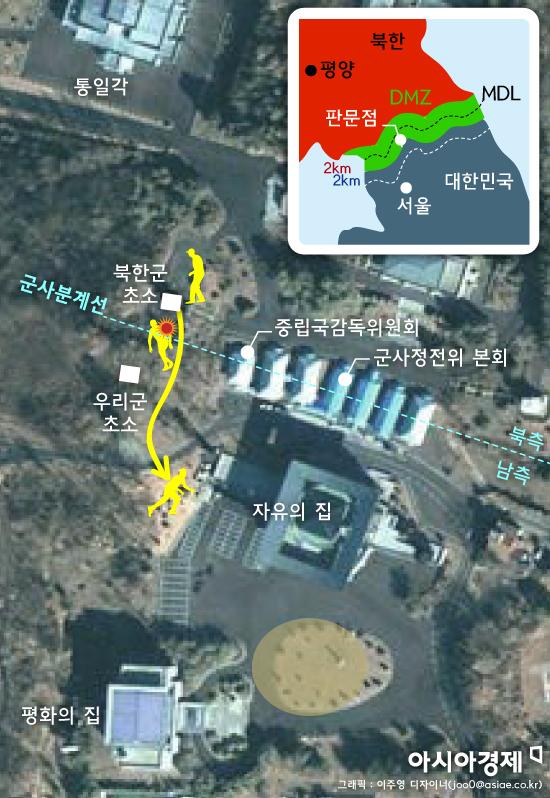 판문점 공동경비구역(JSA) 통해 귀순한 북한군의 이동경로. 그래픽 = 이주영 디자이너