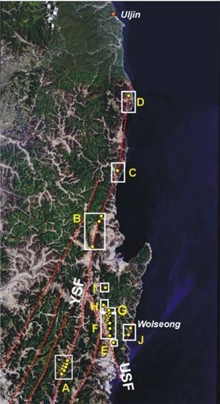 ▲한반도 남동부에 위치하고 있는 제4기 단층.
