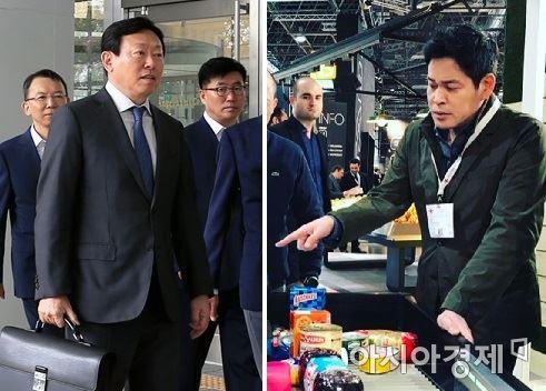 신동빈 롯데그룹 회장(왼쪽)과 정용진 신세계그룹 부회장.