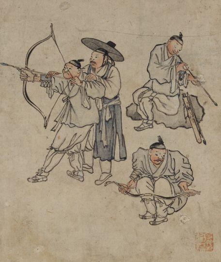 활쏘기 훈련을 받고 있는 사람들을 그린 단원 김홍도의 민속화 '활쏘기' 모습. 조선시대에는 남녀노소 모두 활쏘는 법을 배웠다고 전해진다.(사진=국립중앙박물관)
