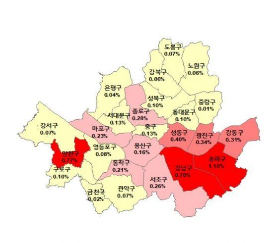 ▲1월8일 기준 서울 아파트 매매가격 주간 변동률(자료: 한국감정원)