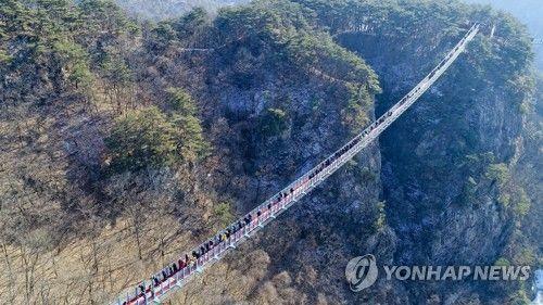 길이 200m, 폭 1.5m로 산악보도교 중 국내 최대규모인 '원주 소금산 출렁다리'가 11일 개통해 시민들이 다리를 건너고 있다. [이미지출처=연합뉴스]
