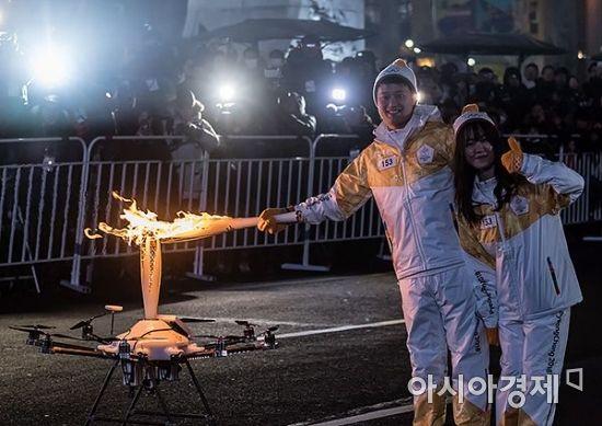 [포토] 세계최초 드론 성화 봉송