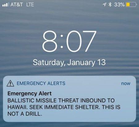 하와이 주민과 체류객에서 전송된 '탄도미사일 공격 대피 긴급 경보'. 트위터 캡처.