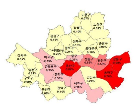 ▲2월5일 기준 서울 아파트 매매가격 주간 변동률(자료: 한국감정원)
