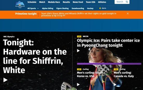미국 NBC 방송이  금메달이 유력한 알파인 스키 대표팀 미카엘라 시프린의 경기를 홍보하고 있다.(NBC 캡처)