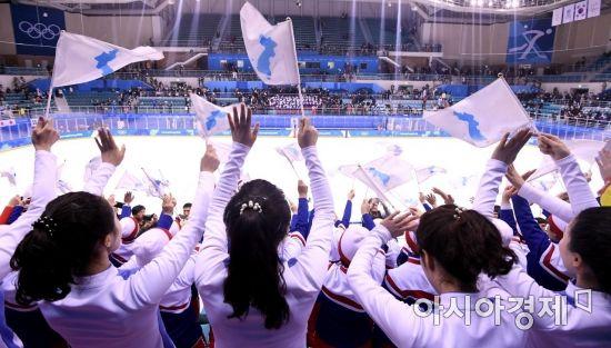 [포토] 북한 응원단의 한반도기