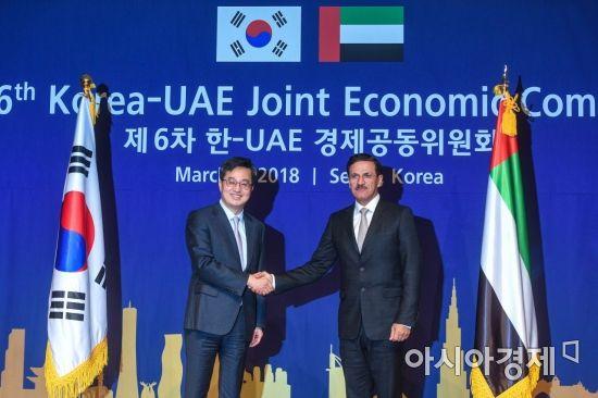 [포토] 손 맞잡은 한-UAE 경제장관