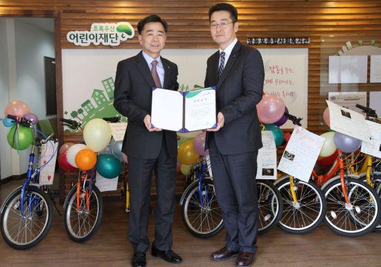 하이투자증권, 임직원이 직접 만든 자전거 기부로 나눔·상생 실천