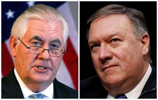 렉스 틸러슨 미국 국무장관(왼쪽)과 그를 곧 대신하게 될 마이크 폼페이오 CIA 국장(사진=로이터연합뉴스).