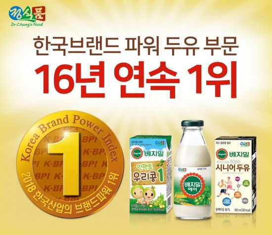 정식품 베지밀, '한국산업의 브랜드파워' 16년 연속 1위