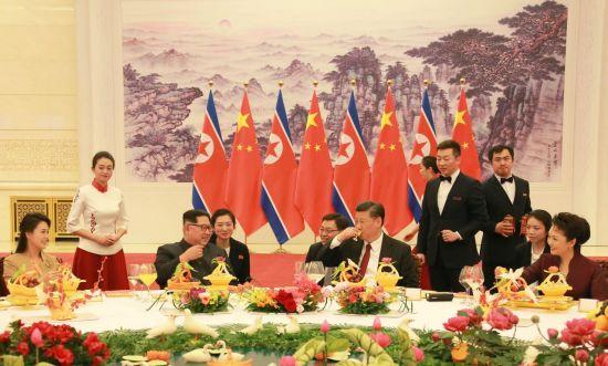 지난 3월 중국을 방문한 김정은 북한 국무위원장 환영 만찬(사진=연합뉴스).