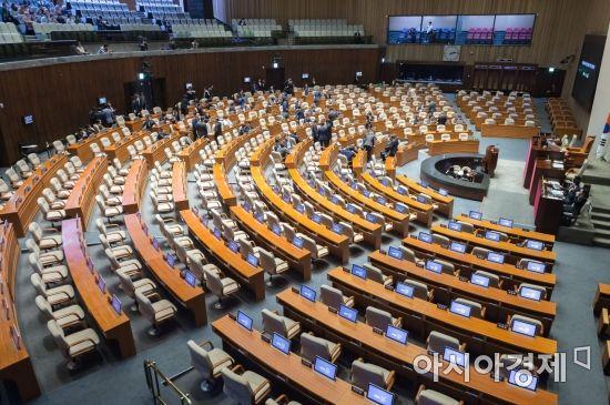 4월 임시국회 첫날인 2일 개헌 등 쟁점법안에 대해 합의에 실패, 자유한국당 의원들의 불참으로 본회의가 열리지 못하고 있다./윤동주 기자 doso7@