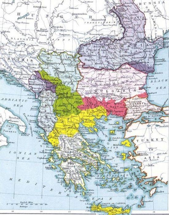 1913년 2차 발칸전쟁 이후 상황을 보여주는 지도. 당시 그리스는 옛 그리스 왕국의 옛땅을 모두 회복해야한다는 대그리스주의 열풍에 따라 호전적인 여론이 강했다.(지도=위키피디아)