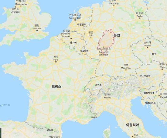 오늘날 독일의 남서부 일대에 위치한 헤센주. 가장 큰 도시인 프랑크푸르트는 유럽의 주요 금융허브 도시로 유명하다.(지도=구글맵)